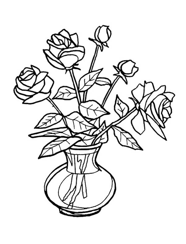 flower vase coloring page. Rose Flower Vase Coloring Page  Sky