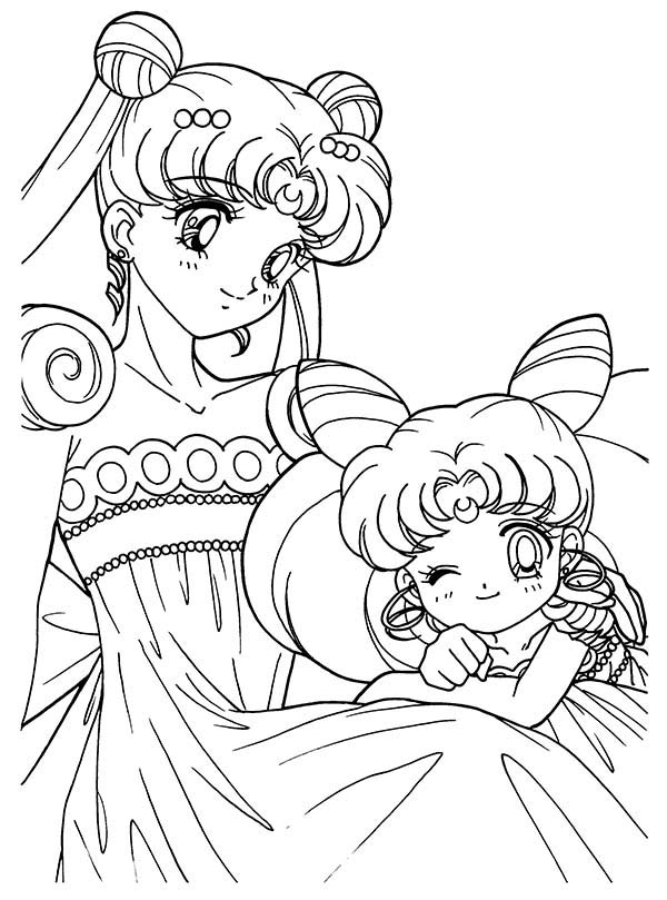 Sailor moon and sailor chibi moon anime coloring page for Coloring pages sailor moon