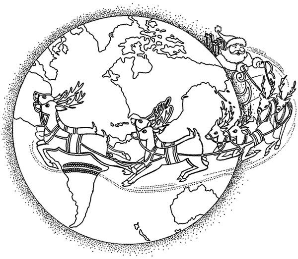 Santa Around World Coloring Pages