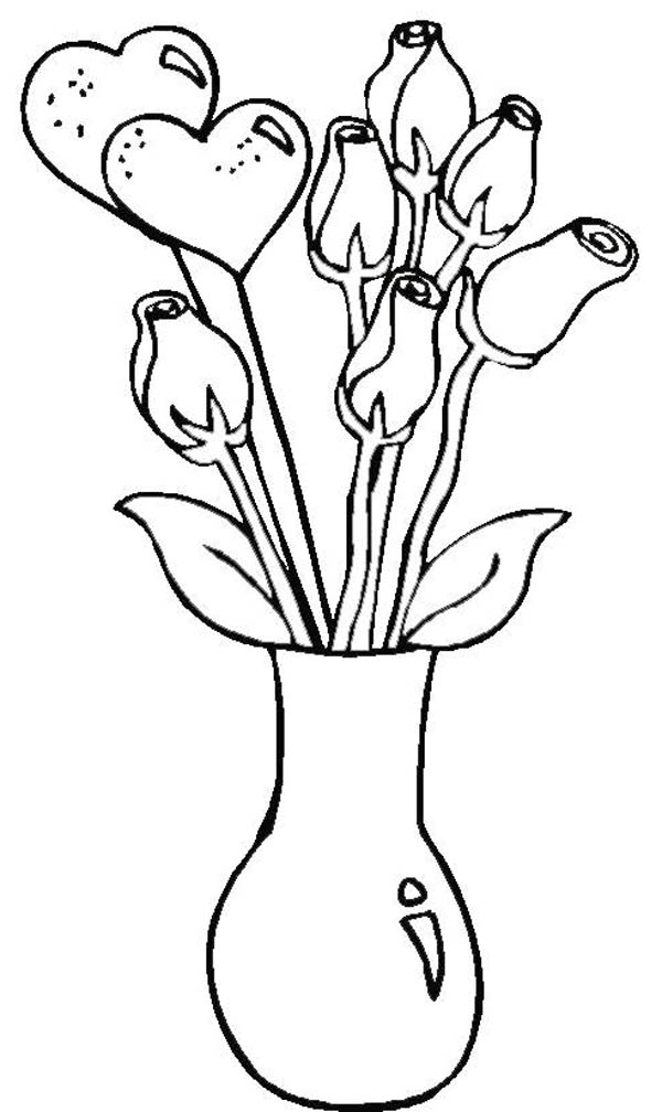 Flower Vase  Simple Coloring Page PageFull Size Image