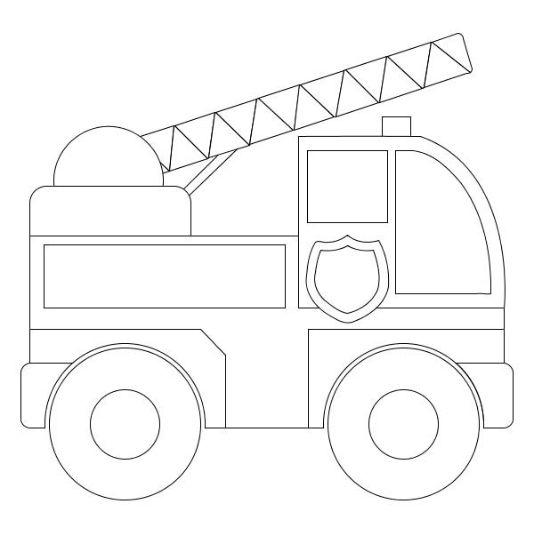 simple truck coloring pages - simple model of fire truck coloring page coloring sky