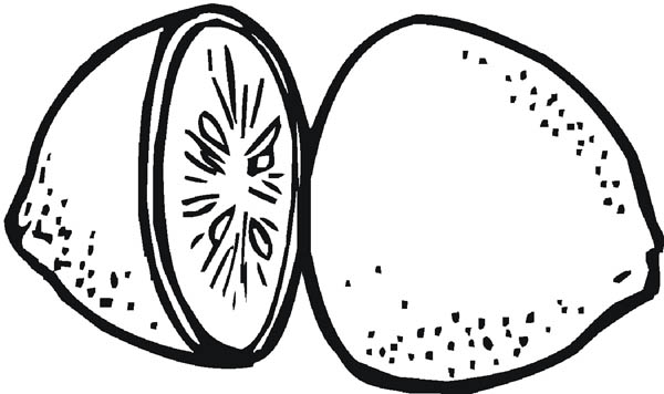 Slice a Lemon in Two Pieces Coloring Page Coloring Sky