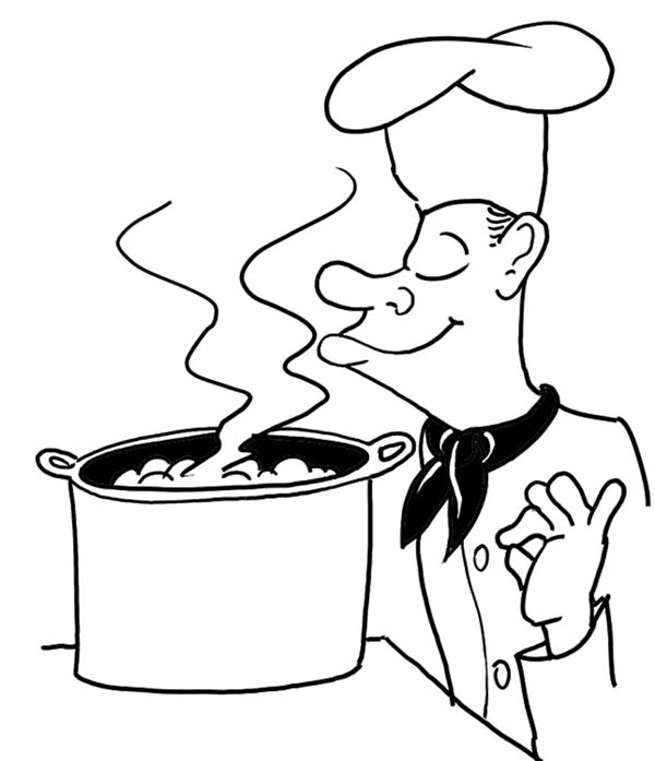 Soup Cooked by French Chef Coloring Page | Coloring Sky