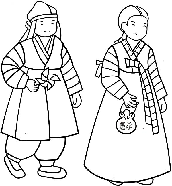 south korean couple from kidsaround the world coloring page