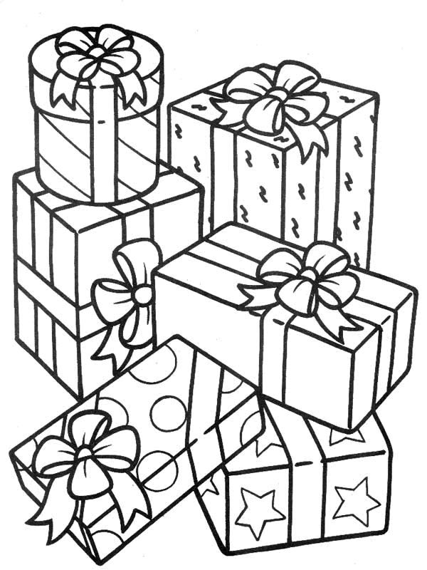 Stack of Gifts Coloring Page