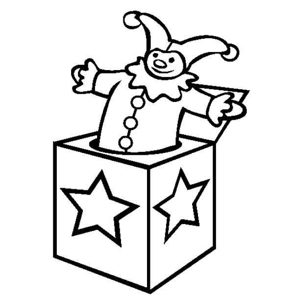 star decorated jack in the box coloring page