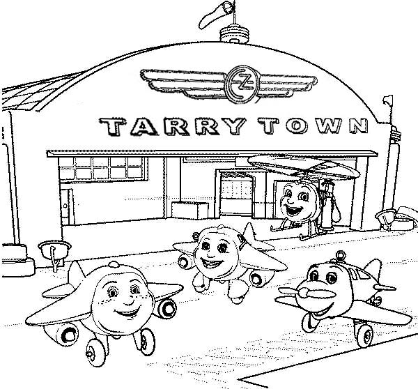 tarry town airport where airplanes gather coloring