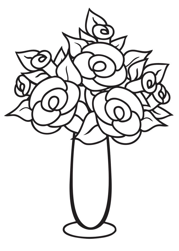 flower vase coloring page. Flower Vase  Thin and Tall Coloring Page And