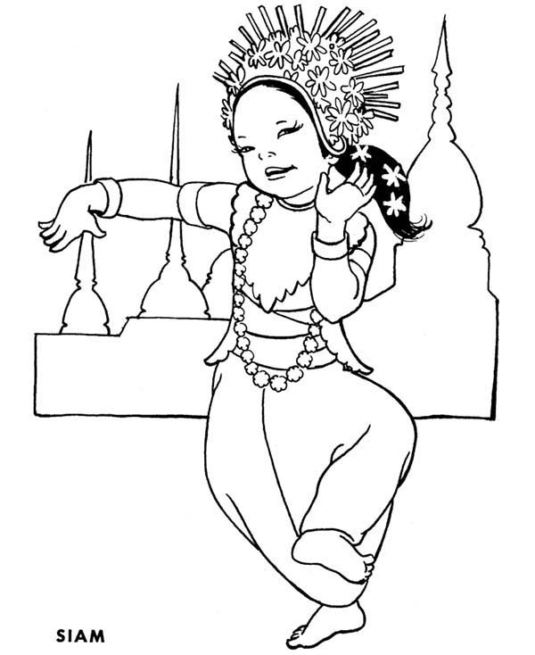 Traditional Dance From Thailand Around The World Coloring Page