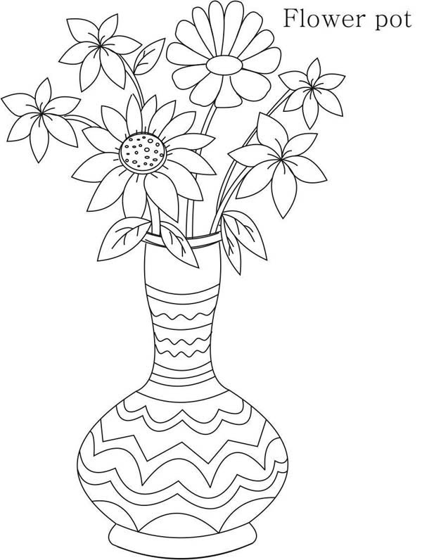 Colouring Pages Of Flowers In Vase : Tribal flower vase coloring page sky