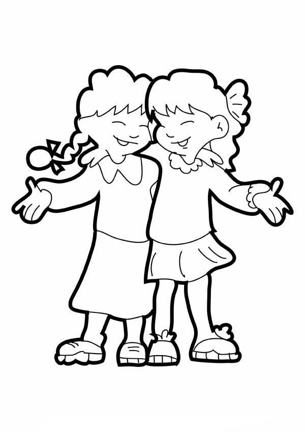 Two Girls Hugging On Friendship Day Coloring Page