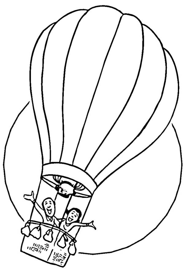 Two Happy People Ride Hot Air Balloon Coloring Page Coloring Sky