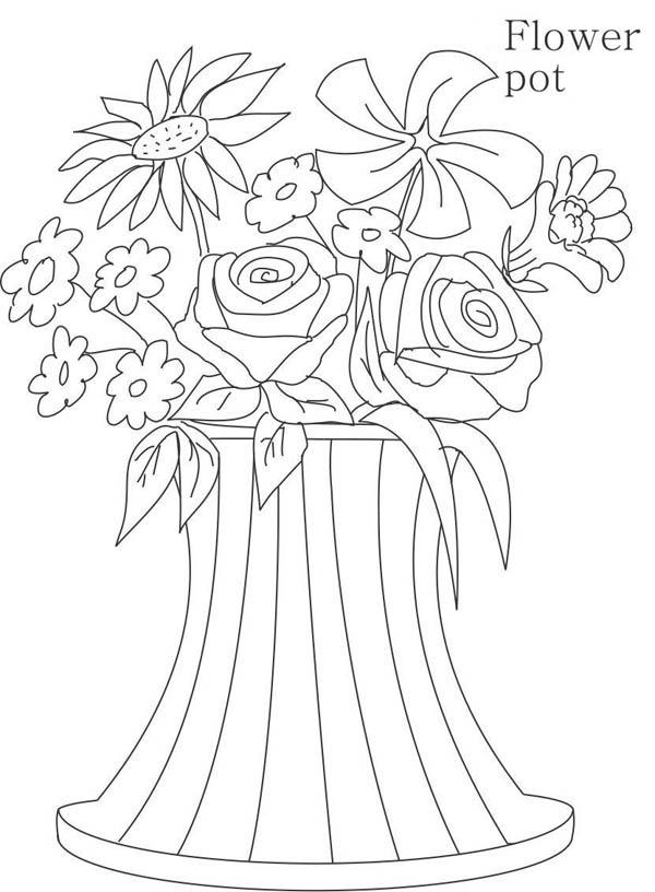 Unique Flower Vase Coloring Page Coloring Sky