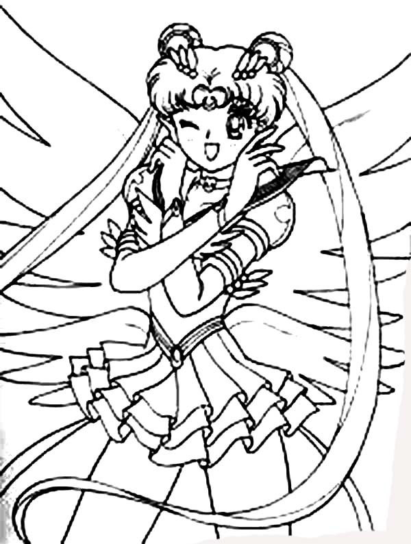 anime usagi tsukino in anime of sailor moon coloring page