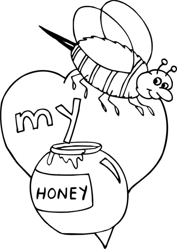 Valentines Day Bee My Honey Coloring Page