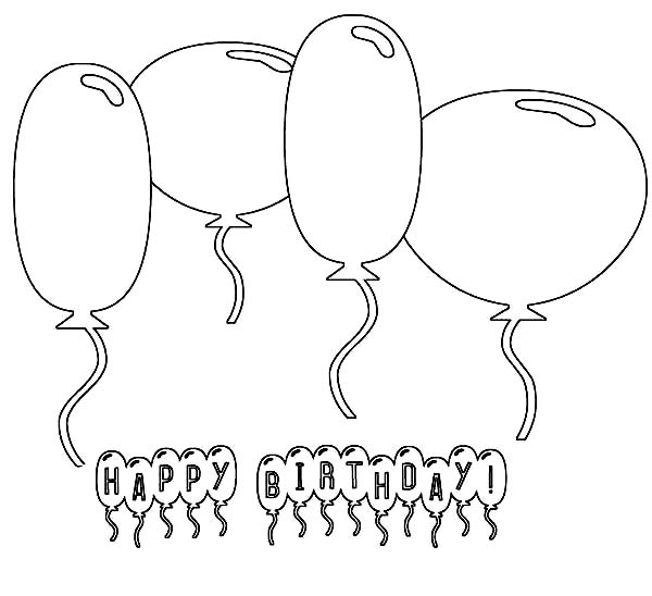 various type of happy birthday balloon coloring page coloring sky