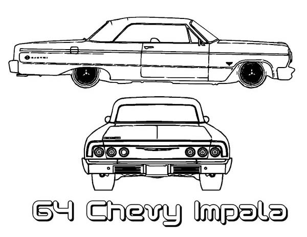 64 chevy impala old car coloring page coloring sky