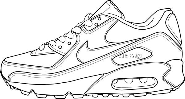 ... drawing air max 90 shoes coloring page nike ...