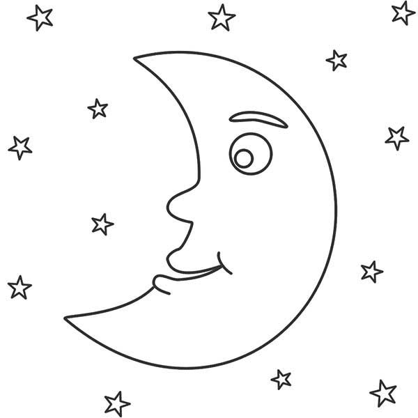 coloring pages night | Awesome Night with Moon and Stars Coloring Page | Coloring Sky