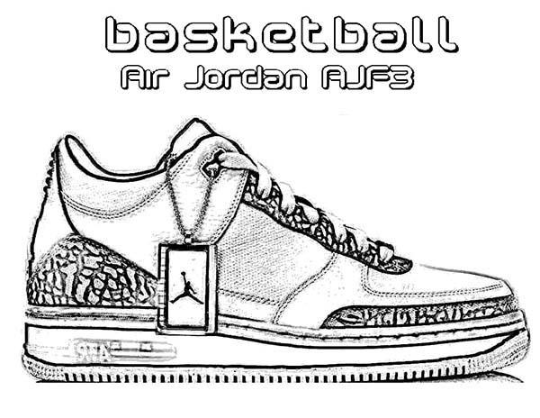 Basketball air jordan ajf3 shoes coloring page coloring sky for Basketball shoe coloring page