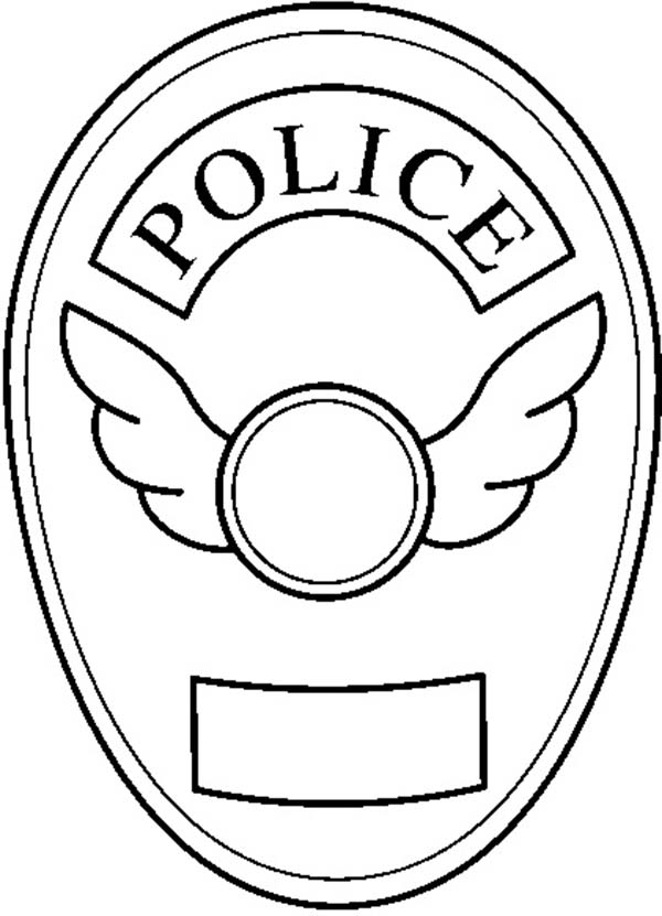 Blank Police Badge Coloring Page | Coloring Sky