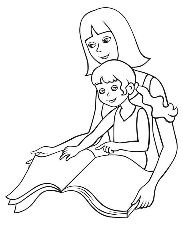Book Reading with Moms Coloring Page | Coloring Sky