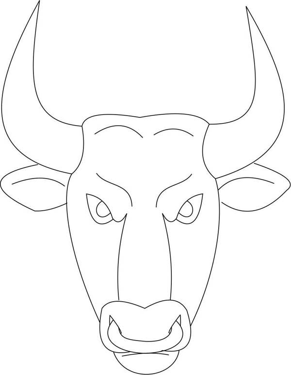 Bull Mask Coloring Page: Bull Mask Coloring Page – Coloring Sky