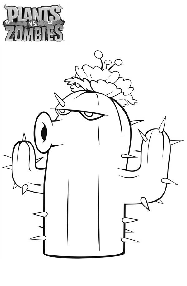 Cactus in Plant vs Zombie Coloring Page