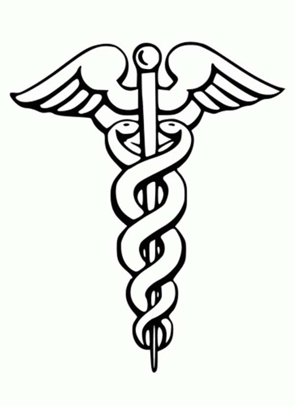 Caduceus Medical Symbol Coloring Page