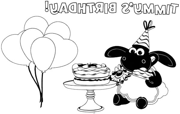 Celebrate Timmy Birthday With Cake And Balloons In Time Coloring Page