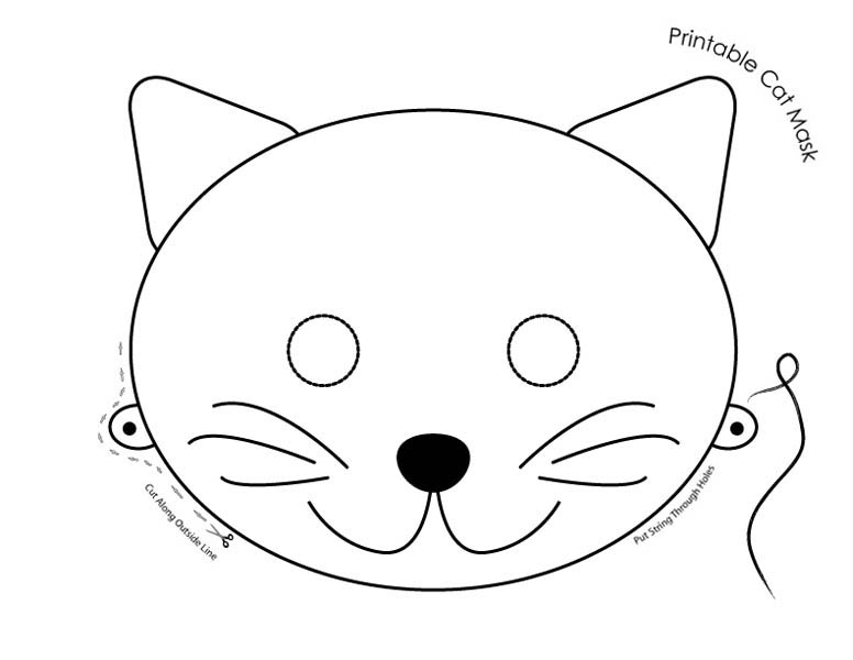 Cute Cat Mask Coloring Page: Cute Cat Mask Coloring Page