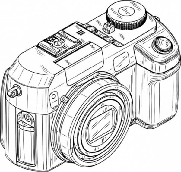 Digital camera in photography coloring page