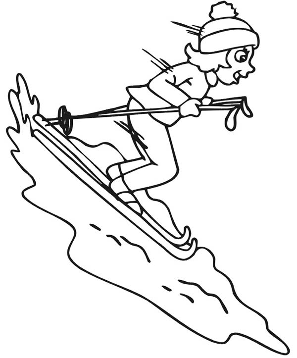 skiing free coloring pages