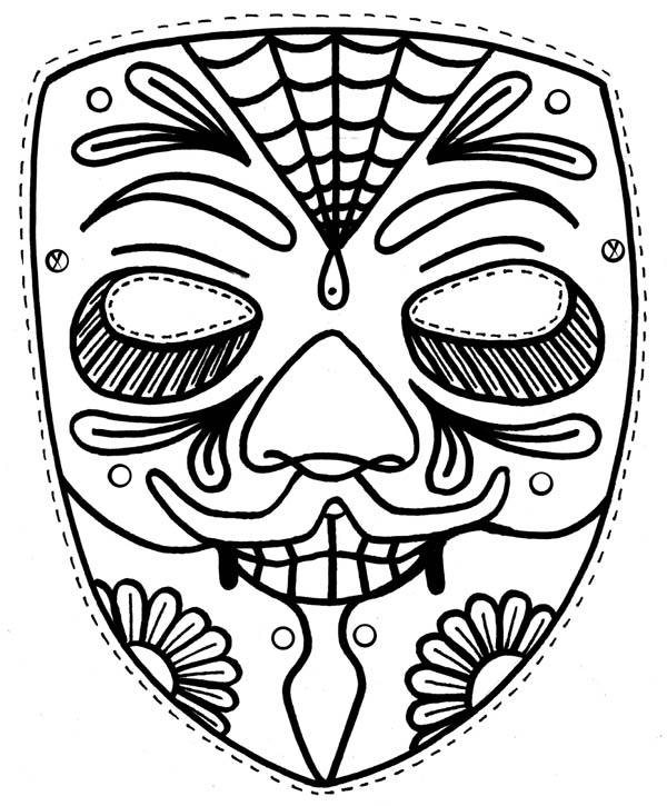 coloring pages ethnic children | Ethnic Mask Coloring Page | Coloring Sky