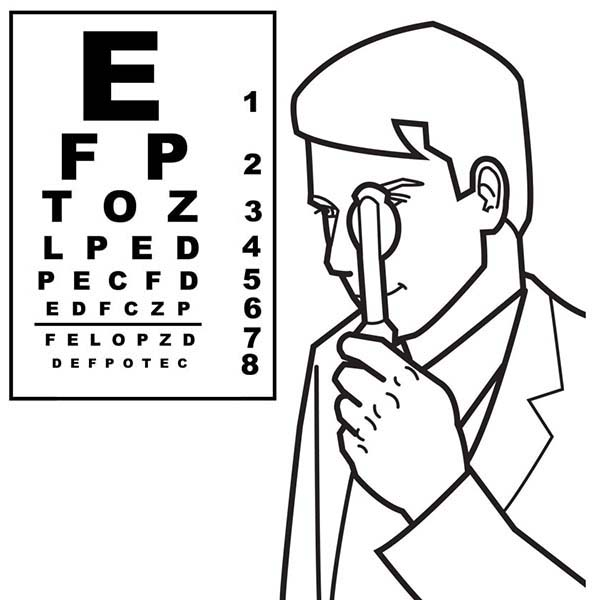 Eye Doctor Medical Tools Coloring Page | Coloring Sky