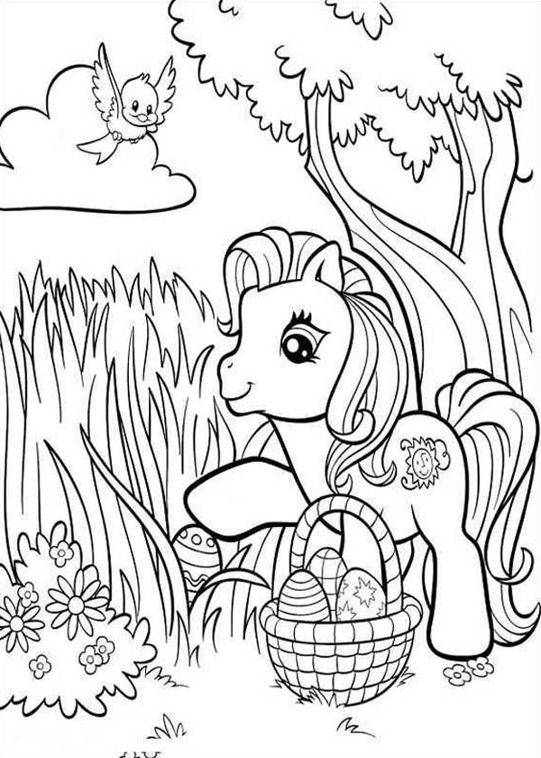 Finding Easter Eggs in My Little Pony Coloring Page Coloring Sky