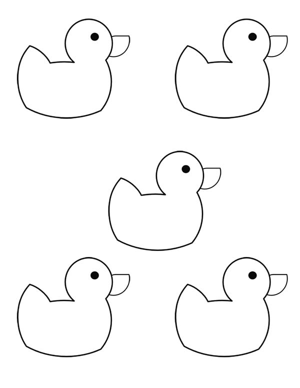 Five Rubber Ducky Coloring Page