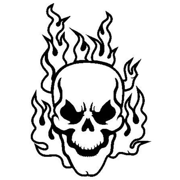 flaming skull coloring page - Skulls Coloring Pages