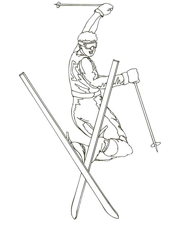 Freestyle Skiing Championship Coloring Page | Coloring Sky