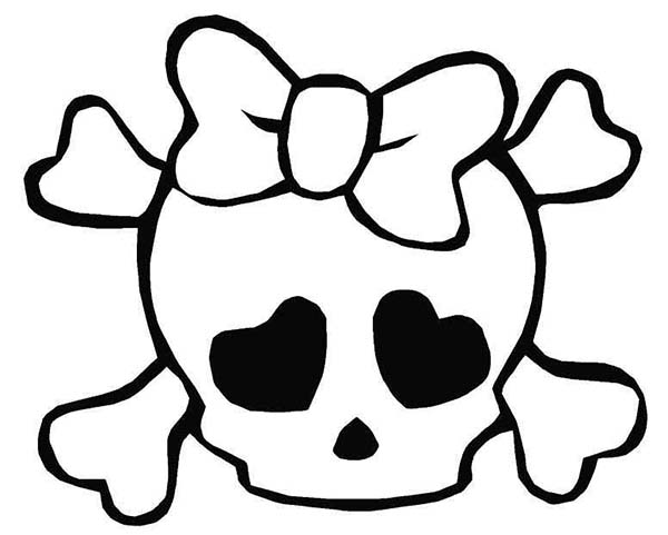 Girly Love Skull Coloring Page Coloring Sky