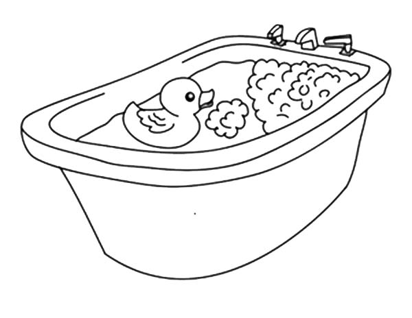 Going Bath with Rubber Ducky Coloring Page | Coloring Sky
