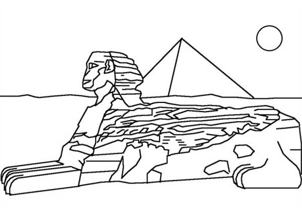 sphinx coloring page - great pyramid of giza free coloring pages