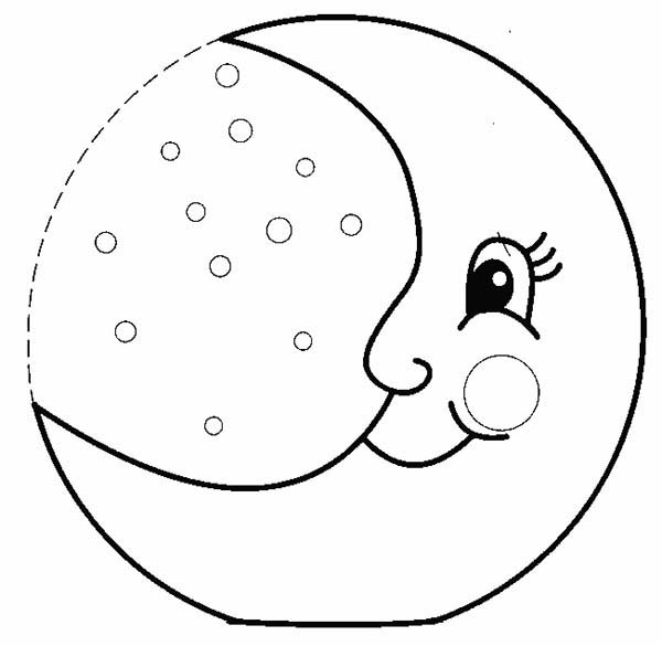 Half moon smiling coloring page coloring sky for Half moon coloring pages