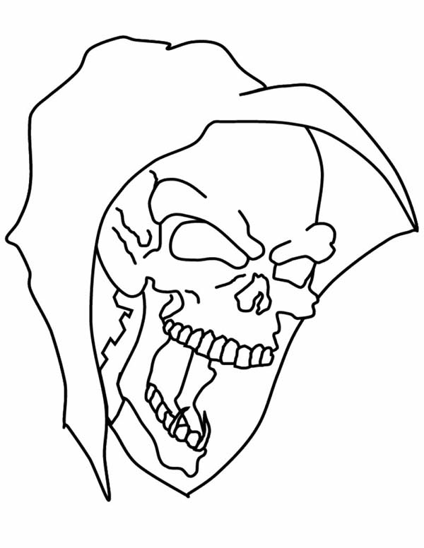 Halloween Skull Mask Coloring Page