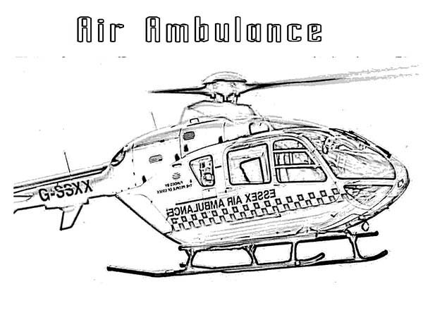 Medical Helicopter Air Ambulance For Care Coloring Page