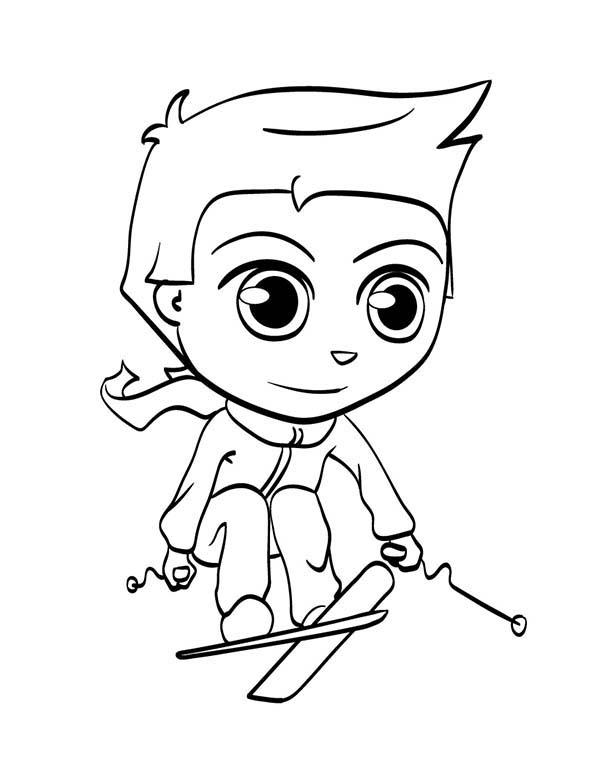 high jump skiing coloring page