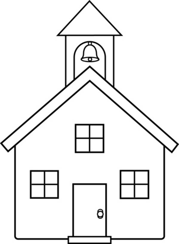 How To Draw A School House Coloring Page  Coloring Sky