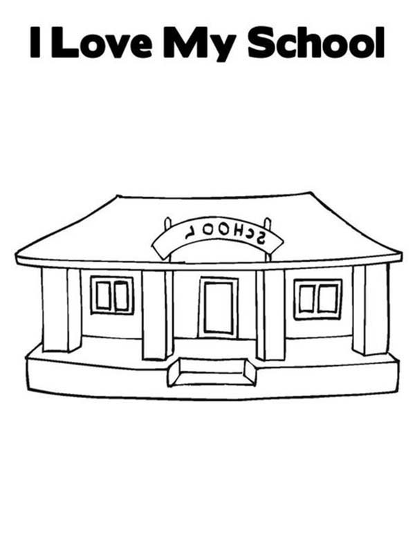 I Love My School House Coloring Page | Coloring Sky