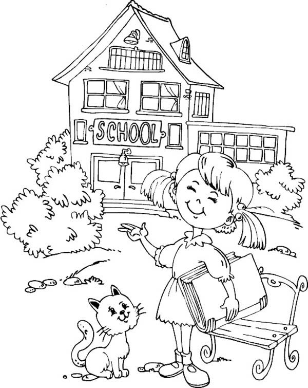 Little want to learn at school house coloring page for Schoolhouse coloring pages