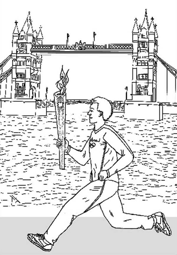 olympic torch coloring page - man running with olympic flame to start olympic games